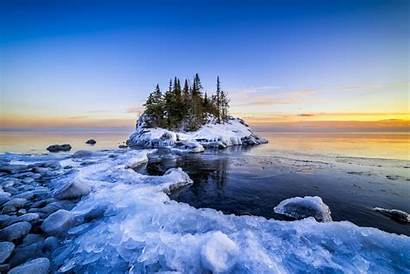 Superior Lake Sunset Winter North Shore Scene