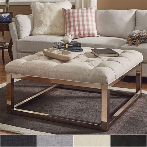 solene square base ottoman coffee table chagne gold