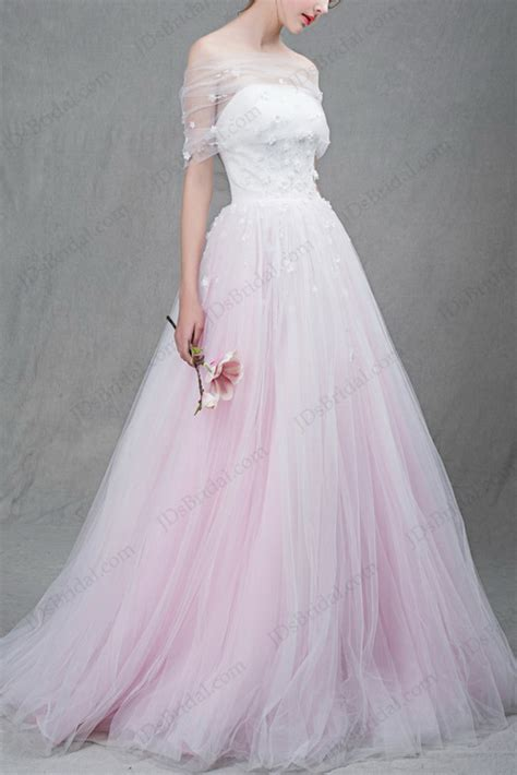 Is037 Beautiful White And Blush Pink Two Tones Tulle Ball