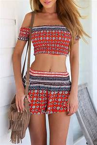Smocked Crop Top Mini Skirt Matching Set - OASAP.com