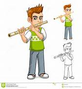 High Quality Boy Playing Flute Cartoon Character Vector Illustration   Indian Flute Clipart