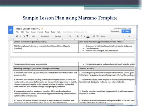 marzano lesson plan siop in