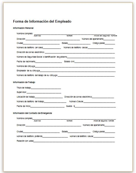 employment information sheet this sample form collects basic information about an