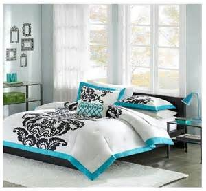 new teal black white 4 piece modern scroll comforter set queen full blue aqua amy pinterest