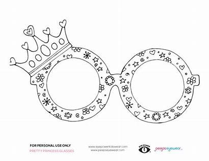 Coloring Pages Glasses Princess Pretty Wear Printable