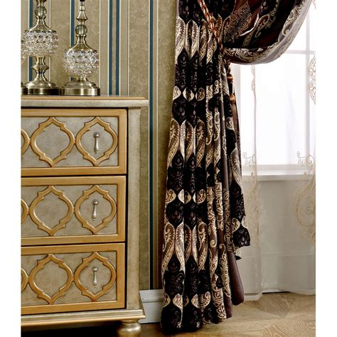 Note Bedroom Curtains by Brown Damask Jacquard Chenille Blackout Thermal Bedroom