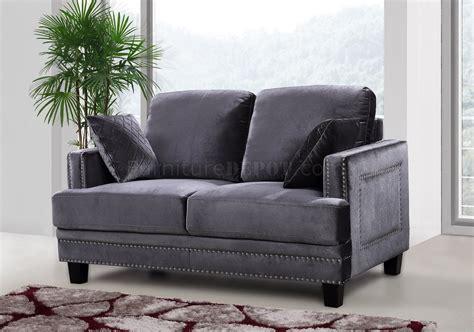 Sofa Loveseat Chair by Ferrara Sofa 655 In Grey Velvet Fabric W Optional Items