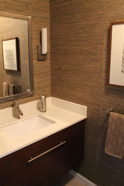 Moen Single Lever Kitchen Faucet Powder Room With Grasscloth Wallpaper Walnut Stained Cabinetry Modern Fixtu Midcentury
