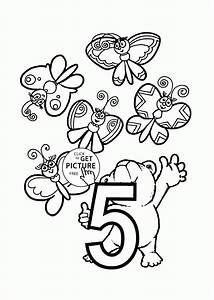 Number 5 coloring pages for preschoolers, counting numbers ...