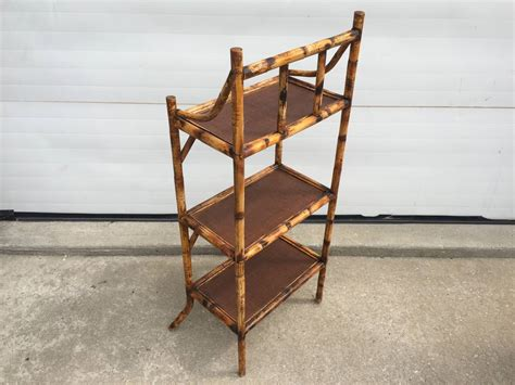 Espresso Etagere by Three Tiered Scorched Bamboo Etagere With Espresso Rattan