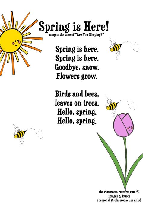 freebie song printable for 566 | spring poem for kids 712x1024