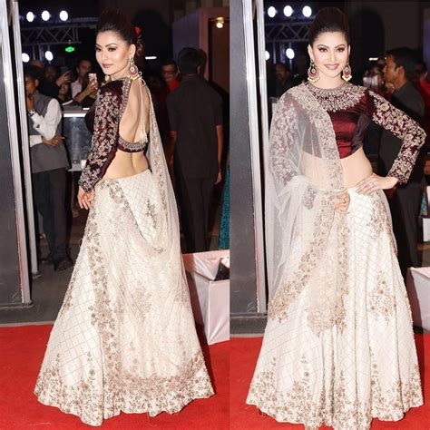 urvashi rautela looked regal  designer white lehenga
