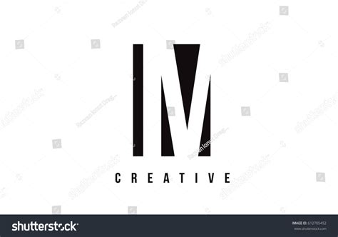 Im M White Letter Logo Design Stock Vector 612705452