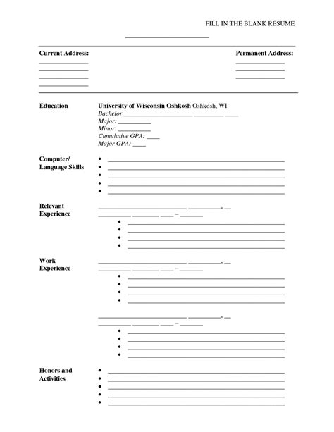 Fill Resume by Resume Exle Fill In The Blank Resume Templates Blank Resume To Fill Out Fill In The Blank