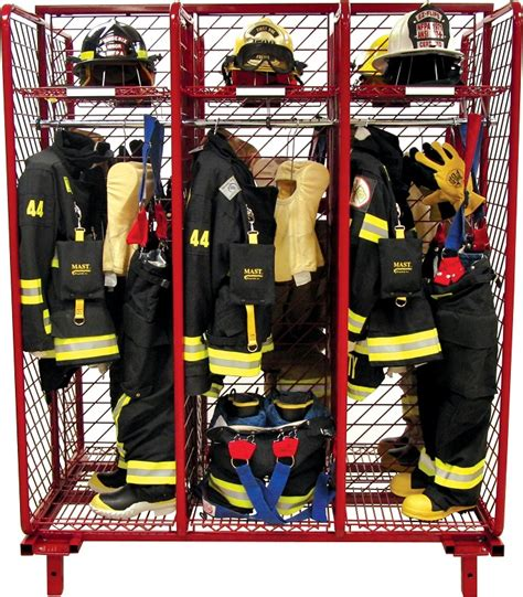 red rack freestanding double sided gear storage  compartments