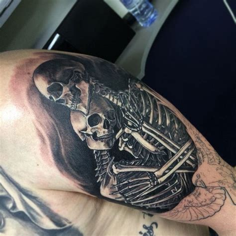 skeleton couple sleeve tattoo venice tattoo art designs