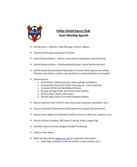 team meeting agenda templates  sample