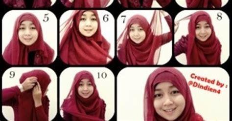 mudah memakai kerudung segi empat tutorial hijab