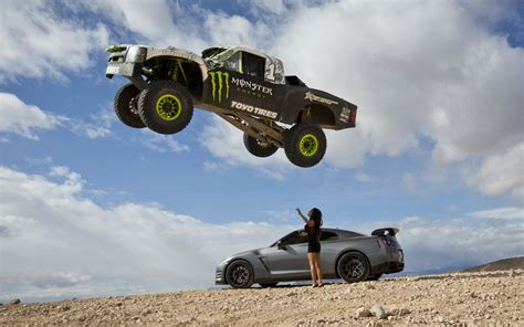 monster truck videos video find godzilla and a trophy truck terrorize the desert