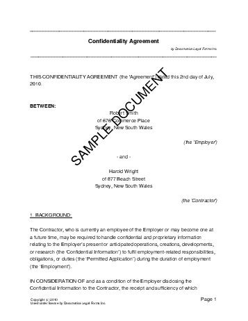 confidentiality agreement australia legal templates