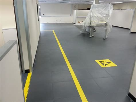 Industrial ESD floor tiles installed with no disruption