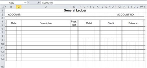 ledger template general ledger template and free