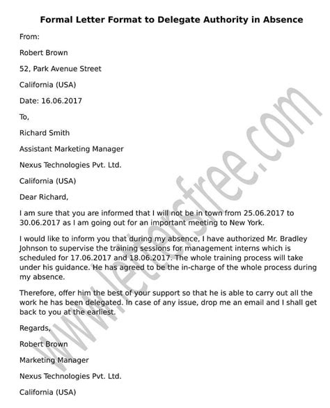 sample letter format  delegate authority  absence