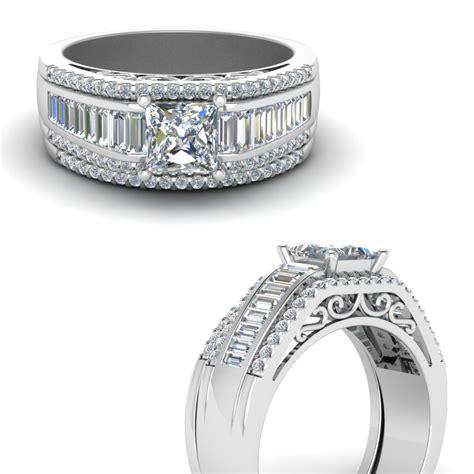 princess cut trio baguette wide band wedding in 18k white gold fascinating diamonds