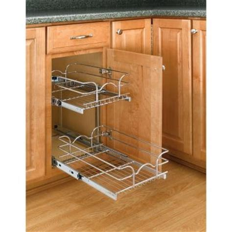 kitchen cabinet pull out shelves home depot rev a shelf 19 in h x 9 in w x 18 in d 2 tier pull out 9655