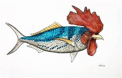 Fish Surrealist Rooster Wallwork Graham Pastel Pastels