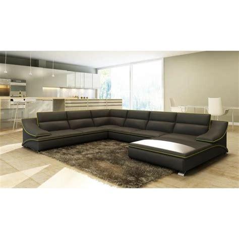 grand canapé 5 places grand canapé d 39 angle en cuir gris et vert design achat