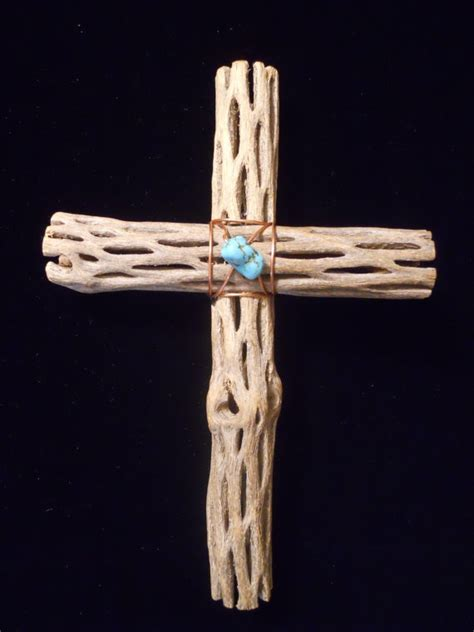 cholla cactus wood ls cross in cholla wood and turquoise by chasingstar72 on