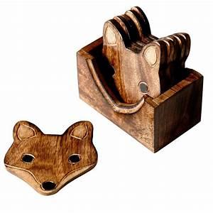 Dessous De Verre Bois : lot de 6 dessous de verres en bois renard ~ Teatrodelosmanantiales.com Idées de Décoration