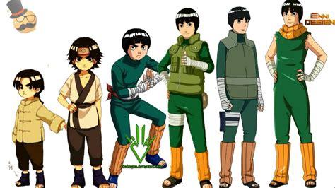 naruto characters rock lees evolution youtube