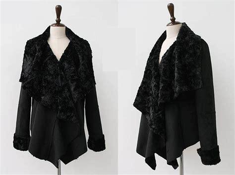 shearling drape coat dramatically draped faux shearling jacket black faux fur