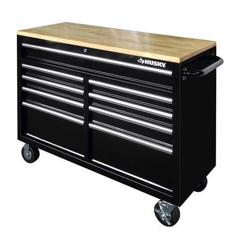 home depot tool bench husky 46 in 9 drawer mobile workbench with solid wood top