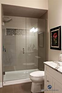 new small bathroom ideas small bathroom with walk in shower glass doors fibreglass base mosaic tile niche and large