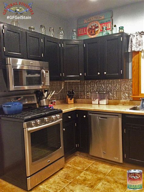 refinishing kitchen cabinets with stain these kitchen cabinets were stained with gf black gel 7708