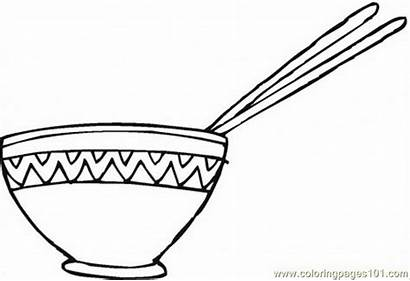 Bowl Coloring Rice Pages Chopsticks Cereal Clipart