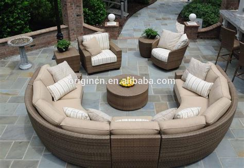 seater curved rattan sofa set  lounge chair sectional wicker semi circle patio furniture