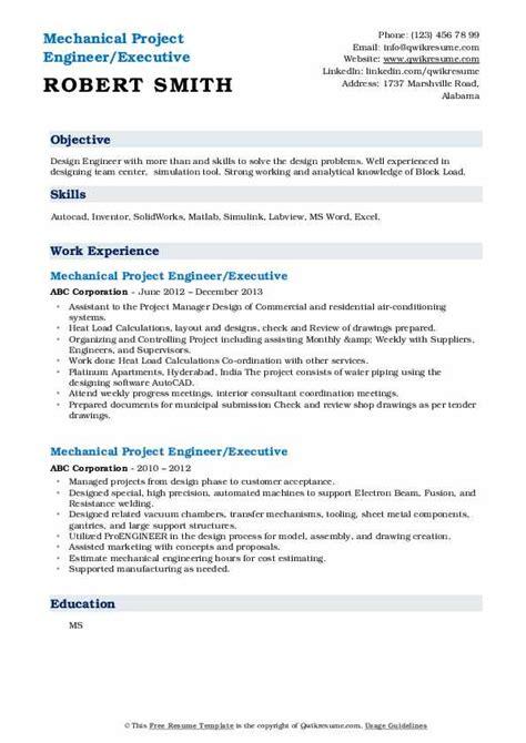 mechanical project engineer resume samples qwikresume