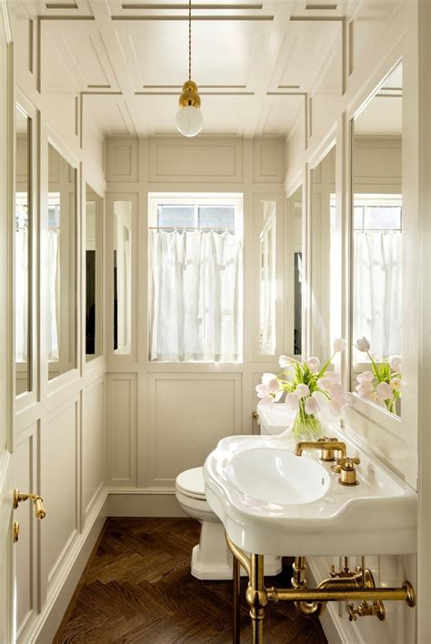 portland floor  ceiling mirrors powder room transitional