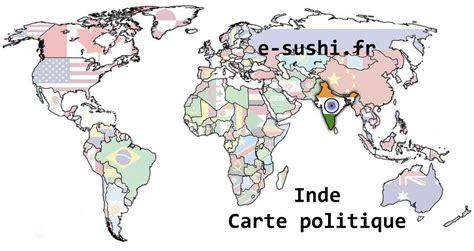 Carte Politique Du Monde Indien carte du monde inde arts et voyages