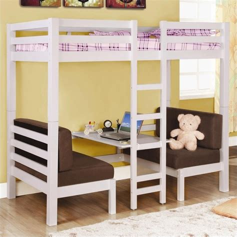that converts to bunk bed coaster convertible loft bunk bed in white