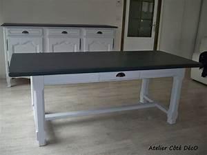 Table atelier cote deco for Meuble salle À manger avec chaise blanche et noir