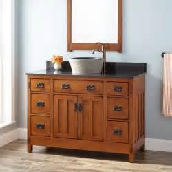 48 quot american craftsman vessel sink vanity rustic oak