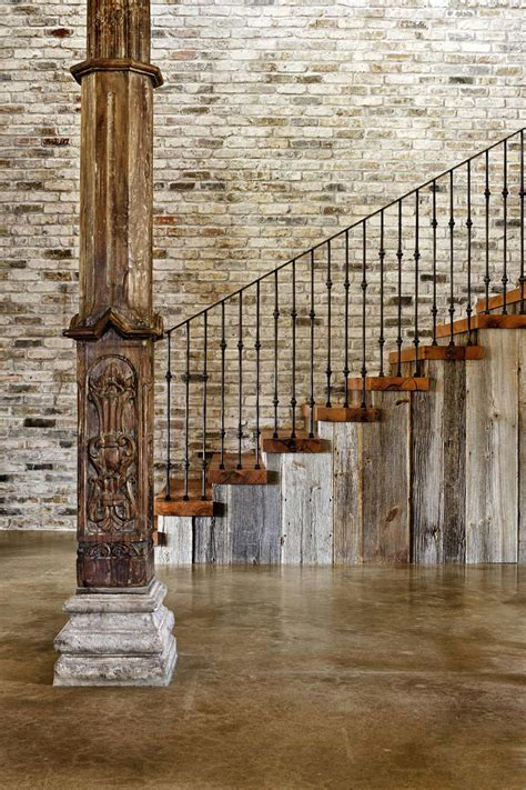 rustic staircase hill country modern  austin texas