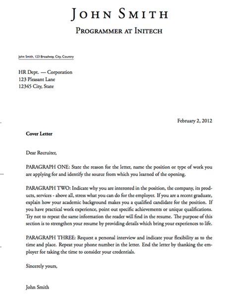 cover letter templates latex cover letter template john