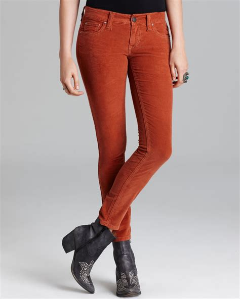 lyst  people jeans super skinny stretch cord  sienna  red