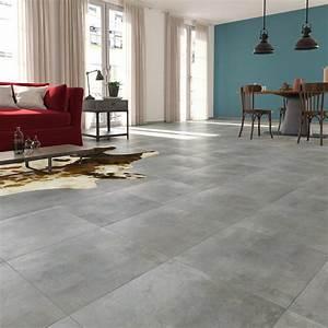 carrelage sol et mur gris clair effet beton laiton l45 x With carrelage gris couleur mur